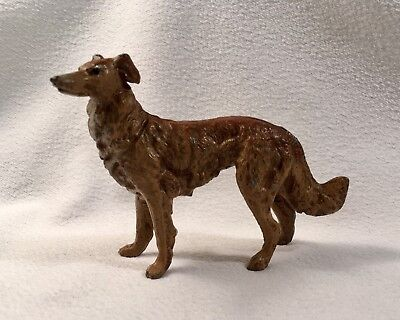 """Antique 4"""" Cast Metal Irish Russian Wolfhound Borzoi Made In Germany"""