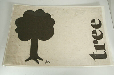 Vintage Mid Century Tree Graphic Art Placemats Text Signed Clora - Set of 4