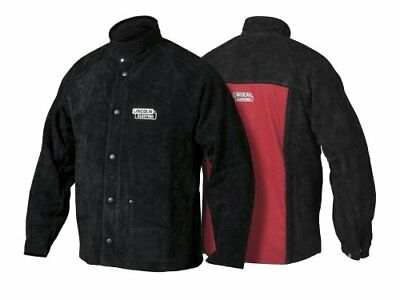 Lincoln Electric K2989-L Heavy Duty Leather Welding Jacket, Large, Black/Red