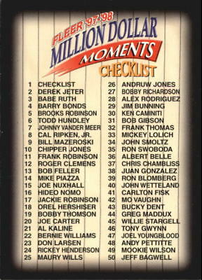 1997-98 Fleer Million Dollar Moments Baseball (Pick Your Cards) All $0.99