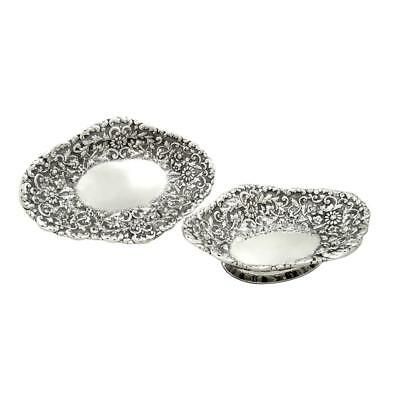 PAIR of ANTIQUE VICTORIAN STERLING SILVER DISHES - 1886