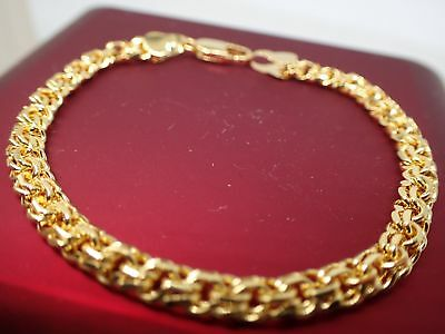 24ct 24 K jaune or massif 4mm brident chaîne womens mens bracelet 7' 18 cm