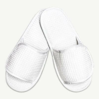 Open Toe Adult White Adjustable Waffle Slippers Unisex Spa Home Bedroom Shoes