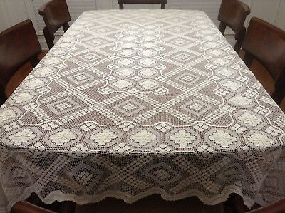 Vintage Handmade Netted Mondano Tatted Crochet cream Tablecloth 84 X 57 Holiday