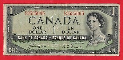 1954 $1 Bank of Canada Devil Face BC-29a Coyne-Towers E/A Prefix 3535695