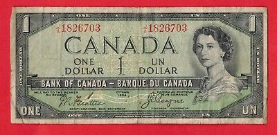 1954 $1 Bank of Canada Devil Face BC-29b Beattie-Coyne J/A Prefix 1826703