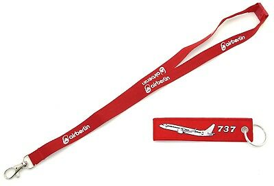 AIR BERLIN Lanyard & REMOVE BEFORE FLIGHT ® Schlüsselanhänger BOEING 737 in Rot