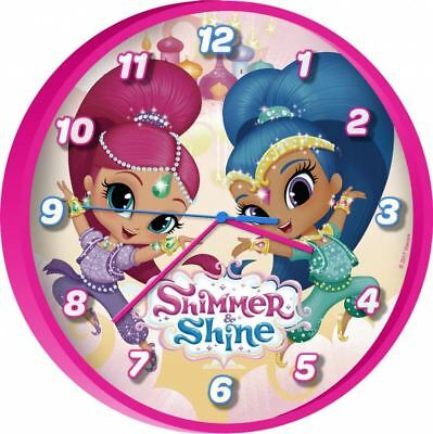 SHIMMER AND SHINE Girls Childrens's Wall Clock Pink Home Collection Bedroom Gift