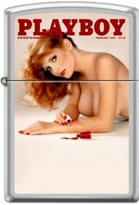 Zippo Lighter Playboy Cover February 1982 Brushed Satin Chrome New in Box