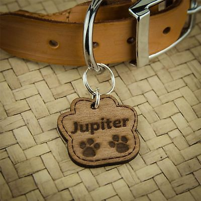 ❤ Wooden Dog Tags Pet ID Personalised Engraved Cat Name Tag Thickness 3mm Multi