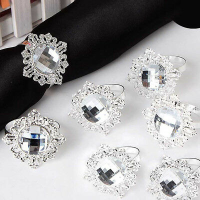 BL_ Metal Acrylic Napkin Ring Holder Wedding Party Banquet Dinner Table Decor Ey