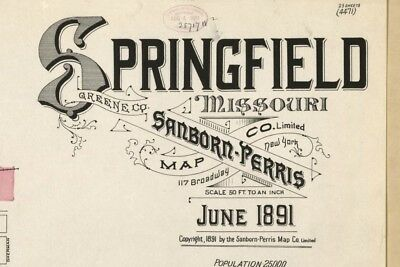 Springfield, Missouri~Sanborn Map©~3 sheets # 4, 11, 18  made in 1891 on a CD
