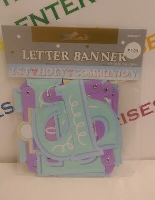 First 1st Holy Communion Letter Banner Party Decoration BLUE/PASTELS 3 for £3.99