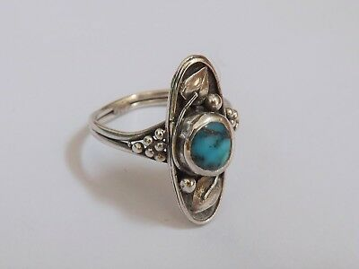 Antique Arts & Crafts Silver and Turquoise Ring - Apprentice Piece? - c.1910