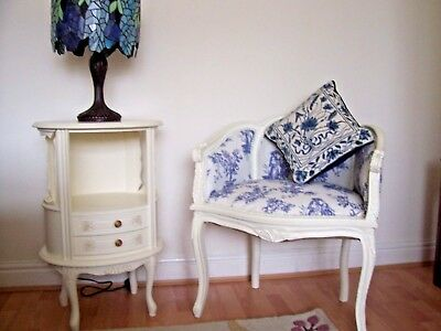 Beautiful French Rococo Blue Toile Chair/ Armchair / Bedroom Chair / Shabby  Chic