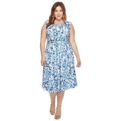 4719bf36162 T Nwt Nic Zoe 3X Plus Size Water Lane Midi Dress  188 Blue White Nordstrom  J16