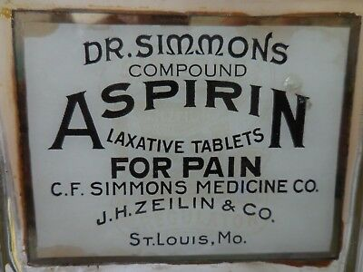 Dr. Simmon's Compound Aspirin  Label Under Glass Apothecary Jar