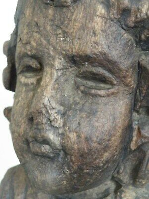 Very Rare Early Gothic Medieval Antique Carved Wood Angel Bust