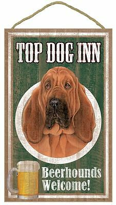 "Top Dog Inn Beerhounds Bloodhound  Bar Sign Plaque dog pet 10"" x 16""  Beer"
