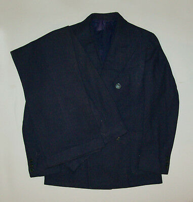 Vtg Small 1930's Blue Wool Suit NRA Label Jacket Vest Pants 3 PC Double Breasted