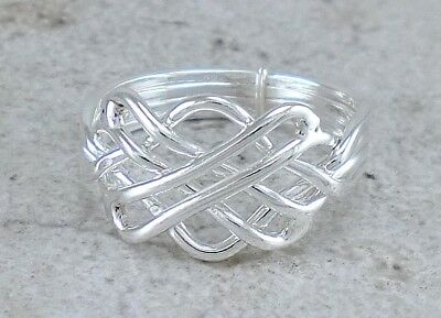 PRETTY .925 STERLING SILVER CELTIC PUZZLE RING size 9 style# r2379