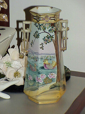 "RARE Antique Beautiful Nippon Bird Vase Antique Vintage pottery 11"" Decorated"