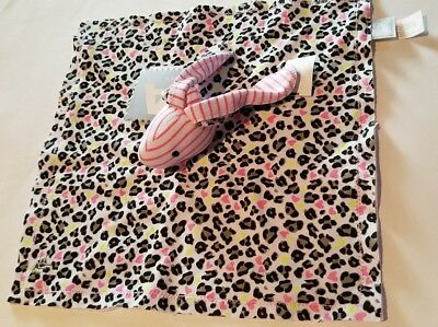 Infant Amy Cole Brand Pink White Stripe Leopard Penny Bunny Cozy Snuggle Blanket