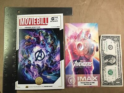 Marvel's Avengers Infinity War IMAX Regal Collectible Ticket + Moviebill