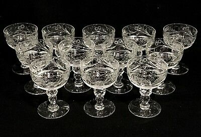 Set of 12 THOMAS WEBB Jewel ENGLISH INTAGLIO CUT CRYSTAL Liquor Cocktail Glasses