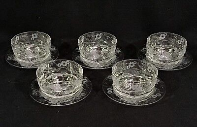 Set 5 THOMAS WEBB Jewel ENGLISH INTAGLIO CUT CRYSTAL Finger Bowls w/ Underplates