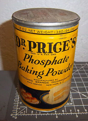 Vintage Dr Price Phosphate Baking Powder tin, unopened, great graphics & colors