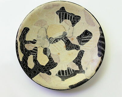 African Kenyan Etch Carved Fish Animal Pattern Black Brown Soapstone Plate Dish
