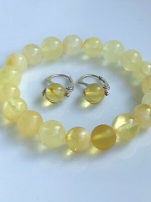 Vintage Genuine Polished Baltic Amber Yellow Beads Set Bracelet Earrings