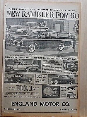 1959 full page newspaper ad for Rambler - 1960, the new standard of excellence