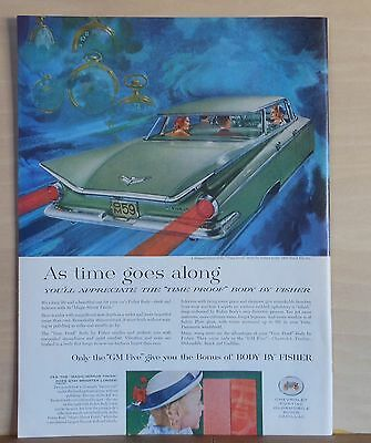 """1959 magazine ad for Buick - Electra with """"Time Proof body"""" races into clouds"""