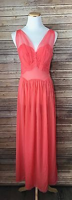 Vintage Vanity Fair Peach Coral Lace Tulle Sleeveless Night Gown Lingerie 34 EXC