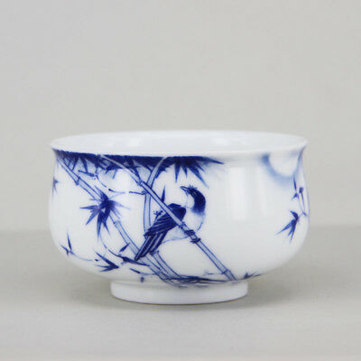 Hand painted Bird bamboo China Jingdezhen Blue and White Porcelain tea cup 90cc