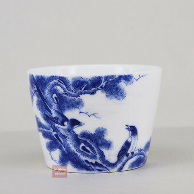 Hand painted birds Chinese Jingdezhen Blue and White Porcelain tea cup 100cc