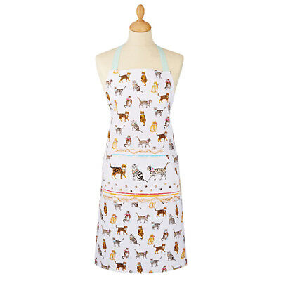 """Cooksmart """"CATS IN THE KITCHEN"""" apron with pocket, 100% cotton twill"""