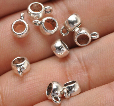 100Pcs Tibetan Silver Charms Connector Spacer Bail Beads bails 8x6MM
