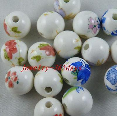 25pcs Porcelain Mixed Round Spacer Beads 12mm