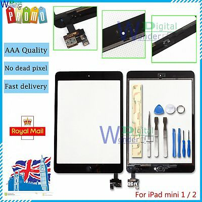 Touch Screen For iPad mini 1 2 Digitizer Replacement Home Button IC Tools Black