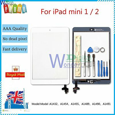 Touch Screen For iPad mini 1 2 Digitizer Replacement Home Button IC Tools White