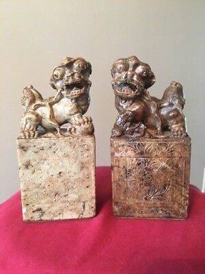 Antique Estate Chinese Soapstone Hand Carved Foo Fu Dogs Figurines Bookends