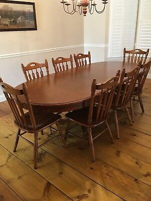 Tell City Maple Dining Room Set - Table, 8 Chairs, Buffet, China Cabinet