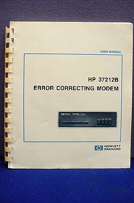 Hewlett Packard 37212B Error Correcting Modem Soft-Cover User Manual - 1987