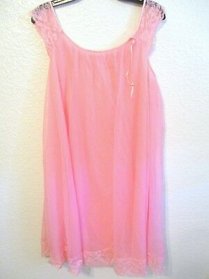 Vintage 1960s PInk Lace Babydoll Nightgown Nylon Chiffon Midcentury Lingerie