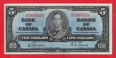 1937 $5 Bank of Canada Gordon-Towers M/C Prefix BC-23b - AU/UNC