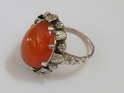 Antique Arts & Crafts Silver and Carnelian Ring - c.1910 - 1920 - UK Size 0
