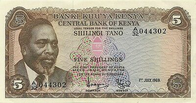 CENTRAL BANK OF KENYA 5 SHILLINGS SHILINGI 1969 -  P-6a - SCARCE DATE CHOICE AU